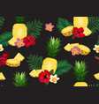 pineapple seamless pattern in longitudinal vector image