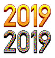 pixel 2019 text happy new year concept vector image vector image