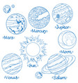 planets of the solar system for coloring vector image vector image