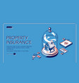 property insurance isometric landing page banner vector image vector image