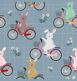 rabbits the gang on colorful bicycle pattern vector image