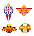 set of made in united kingdom germany spain italy vector image