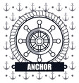 ship wheel steer icon anchor design vector image vector image