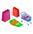 shopping attributes credit cart goods packaging vector image