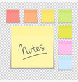 sticky paper note on transparent background vector image vector image