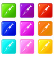 syringe icons 9 set vector image vector image