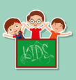 three kids happy boys and girl with chalkboard vector image vector image