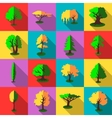 Trees icons set flat style vector image