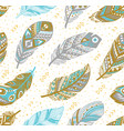 tribal feathers pattern in grey gold and blue vector image vector image