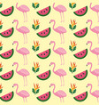tropical flamingo watermelon flower background vector image vector image