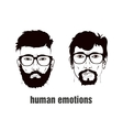 two heads with emotion vector image