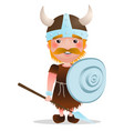 viking warrior cartoon character with red vector image vector image