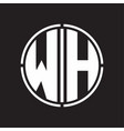 wh logo initial with circle line cut design vector image vector image