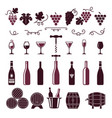 wine symbols grape leaves vine tendrils bottles vector image