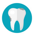 dirty tooth caries icon flat style dentistry vector image