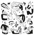 jazz musicians - doodles set vector image