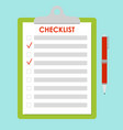 green clipboard with red vector image