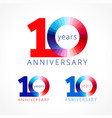 10 anniversary red blue logo vector image