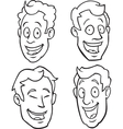 Black and white male cartoon faces vector image vector image
