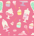cakes cartoon style seamless pattern vector image