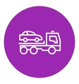 Car towing truck line icon vector image