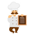 chef or baker with restaurant or cafe menu cook in vector image