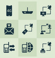 communication icons set with 4g smartphone love vector image vector image