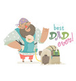 cool daddy holding his baby in ergobaby carrier vector image