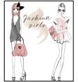 cute fashion girls vector image vector image