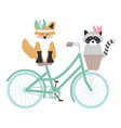 cute fox and raccoon with feathers hat in bicycle vector image vector image