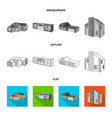 design of facade and housing icon set of vector image