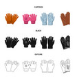 design of glove and winter sign collection vector image