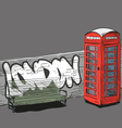 Drawing red english phone booth vector image