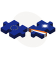European Union and Marshall Islands Flags in vector image