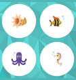 flat icon sea set of seafood hippocampus vector image vector image