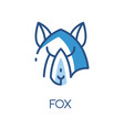 fox logo design blue label badge or emblem with vector image