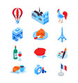 french symbols - modern colorful isometric icons vector image