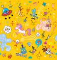 fun cartoon characters seamless pattern vector image vector image
