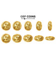 gbp 3d gold coins set realistic vector image vector image