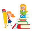 girl reading on book pile writing with pencil vector image vector image