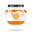 glass jar with jam and configure with orange vector image