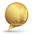 Gold speech circle with texture embroidery vector image vector image