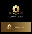 golden luxury food spoon logo vector image vector image
