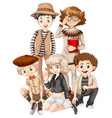 group of hipster teenager vector image vector image