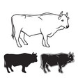 hand drawn bull set vector image vector image