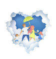 happy family in paper art vector image vector image