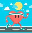 healthy cartoon heart running blue sky imag vector image vector image