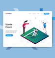 landing page template sports coach isometric vector image