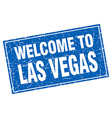 Las Vegas blue square grunge welcome to stamp vector image vector image