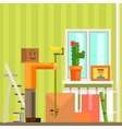 Man With Carton Box Mas Painting The Ceiling In vector image vector image
